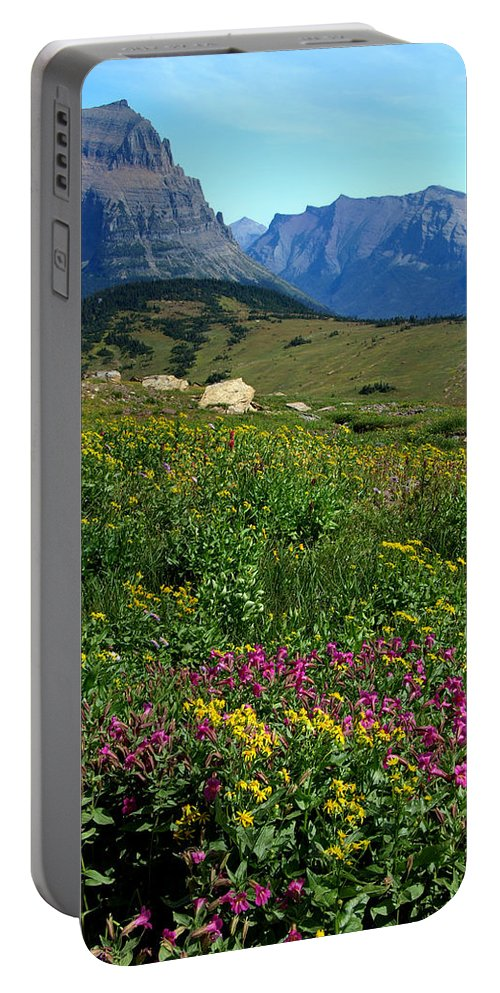 Glacier National Park Portable Battery Charger featuring the photograph Glacier Blooms by Don Keisling
