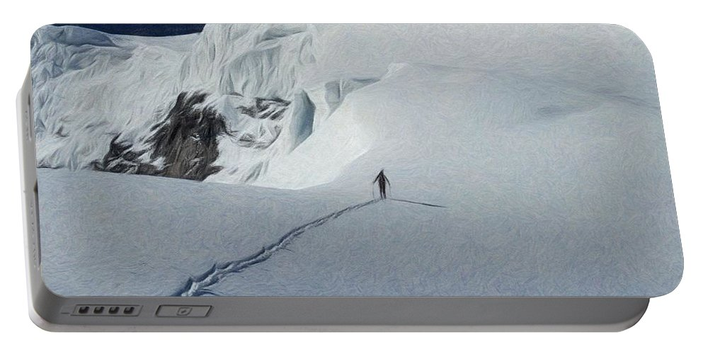 High Portable Battery Charger featuring the painting Glacier - Id 16235-220312-6699 by S Lurk
