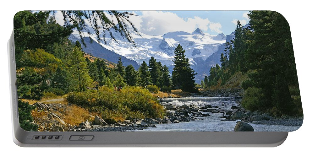 Mountain Portable Battery Charger featuring the photograph Glacier Stream by Tom Reynen