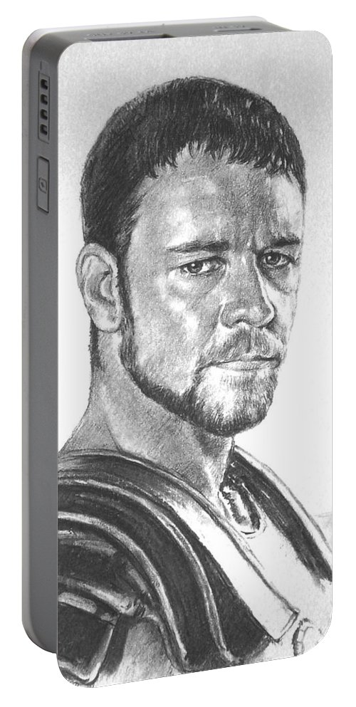 Portraits Portable Battery Charger featuring the drawing Gladiator by Iliyan Bozhanov