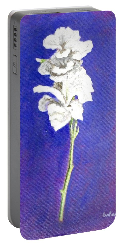 Flower Portable Battery Charger featuring the painting Gladiolus 1 by Usha Shantharam