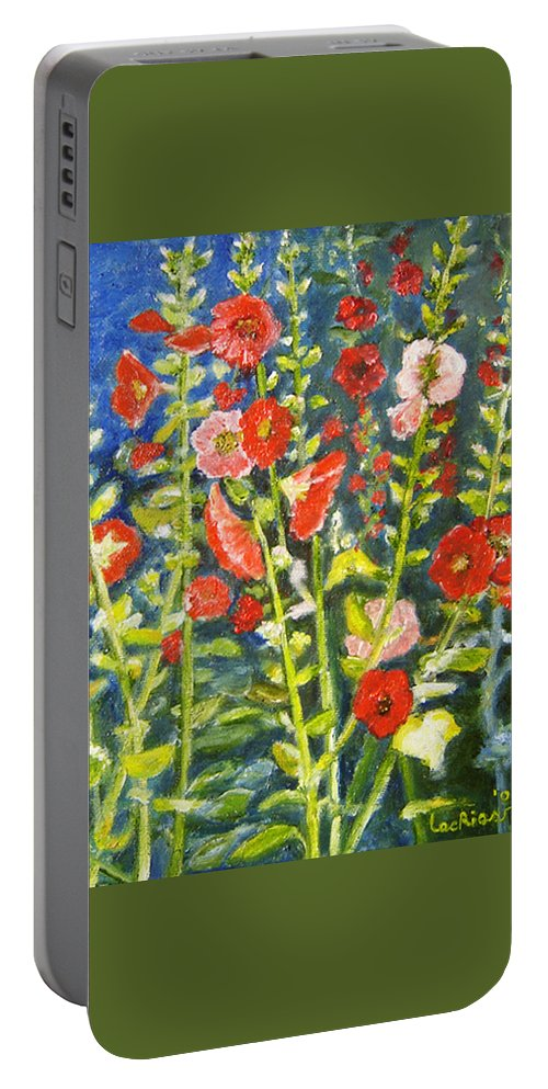 Flowers Portable Battery Charger featuring the painting Gladiolus, 11x14, Oil, '07 by Lac Buffamonti