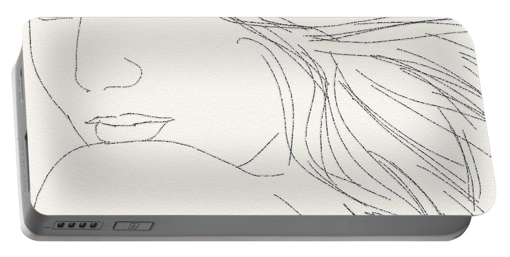 Drawing Portable Battery Charger featuring the digital art Glance by Scott Waters