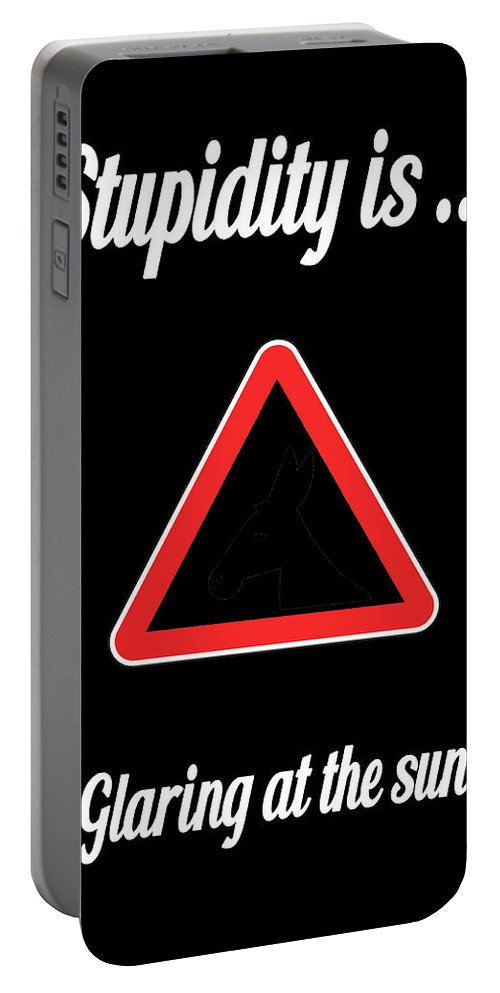 Funny Portable Battery Charger featuring the digital art Glaring Bigstock Donkey 171252860 by Mitchell Watrous