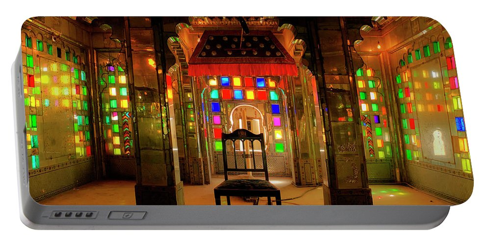 Glass Portable Battery Charger featuring the photograph Glass And Mirror Room City Palace Udaipur by Doug Matthews