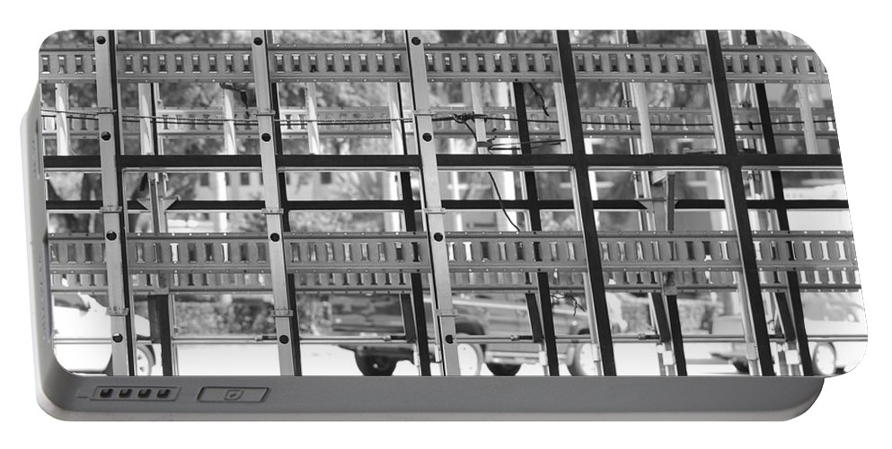 Black And White Portable Battery Charger featuring the photograph Glass Holders by Rob Hans