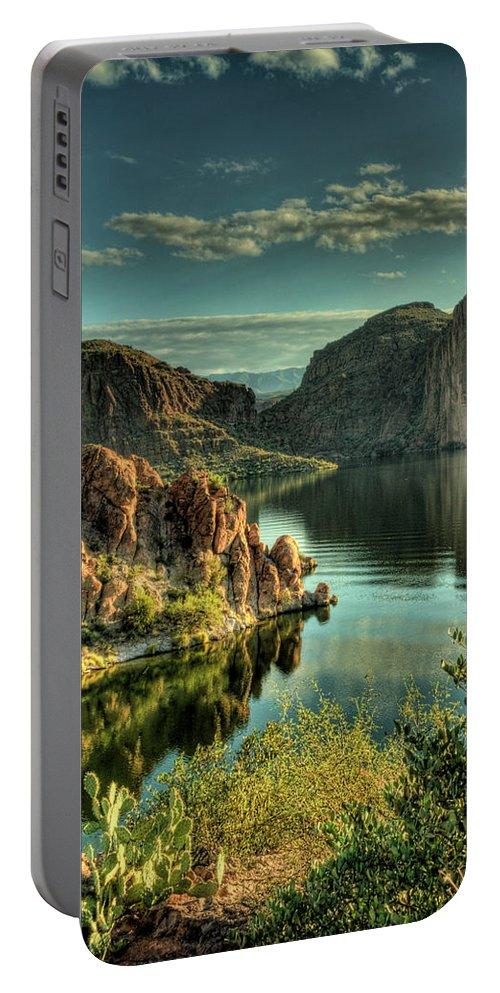 Arizona Portable Battery Charger featuring the photograph Glass Lake by Saija Lehtonen
