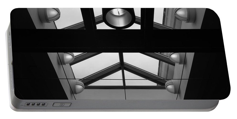 Black And White Portable Battery Charger featuring the photograph Glass Sky Lights by Rob Hans