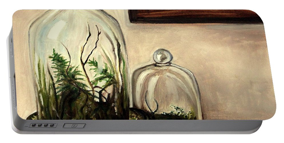 Glass Portable Battery Charger featuring the painting Glass Terrariums by Elizabeth Robinette Tyndall