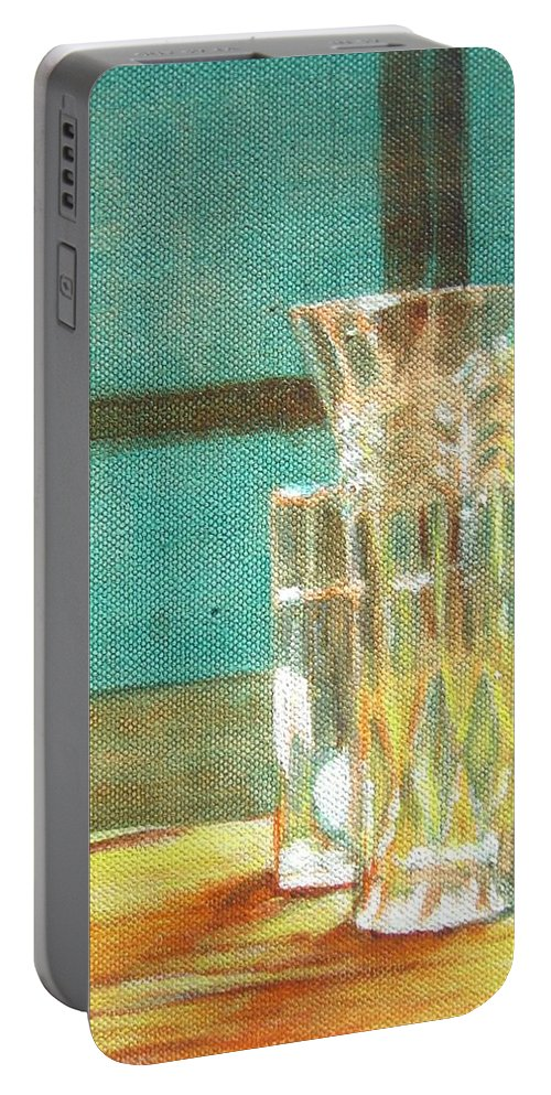 Glass Portable Battery Charger featuring the painting Glass Vase - Still Life by Usha Shantharam