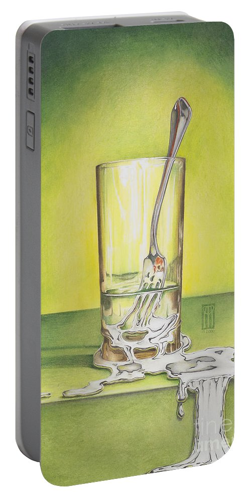 Bizarre Portable Battery Charger featuring the painting Glass With Melting Fork by Melissa A Benson