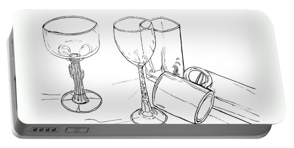 Contour Line Drawing Portable Battery Charger featuring the drawing Glasses by Jean Haynes