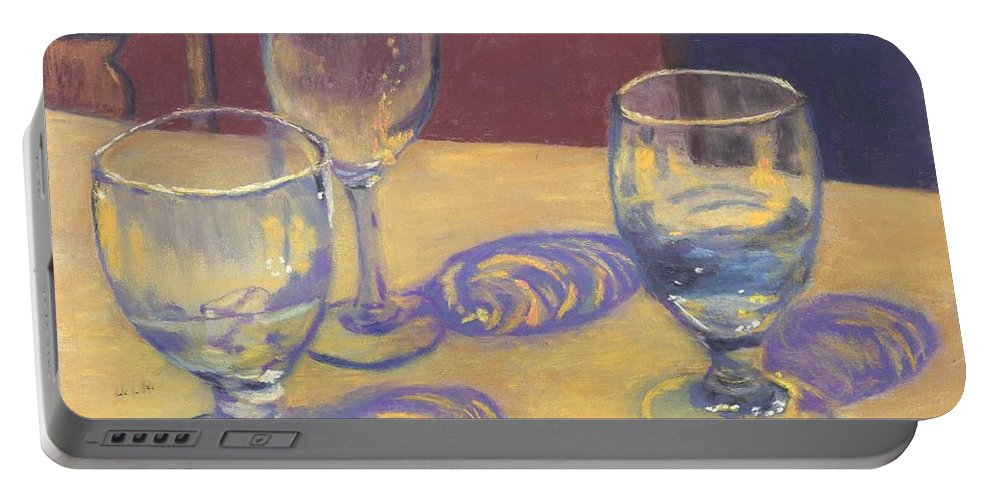 Glasses Portable Battery Charger featuring the painting Glasslights by Sharon E Allen