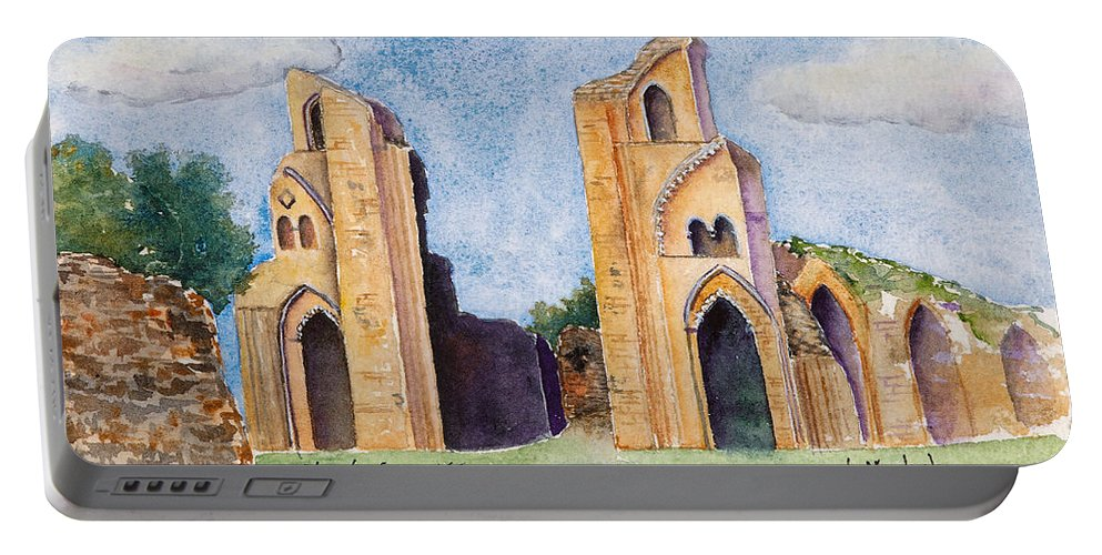 Glastonbury Portable Battery Charger featuring the painting Glastonbury Abbey by Renee Chastant