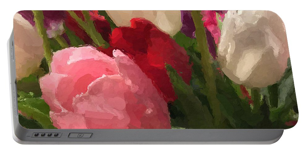 Glazed Tulip Bouquet Portable Battery Charger featuring the painting Glazed Tulip Bouquet by Anna Porter