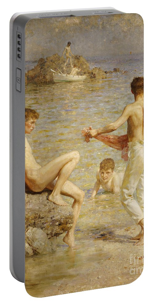 Male; Nude; Bather; Bathers; Sea; Seashore; Shore; Playing; Playful; Bathing; Rowing; Boat; Summer; Leisure; Relaxing; Relaxation; Boys; Youth; Youths; Henry Scott Tuke Portable Battery Charger featuring the painting Gleaming Waters by Henry Scott Tuke