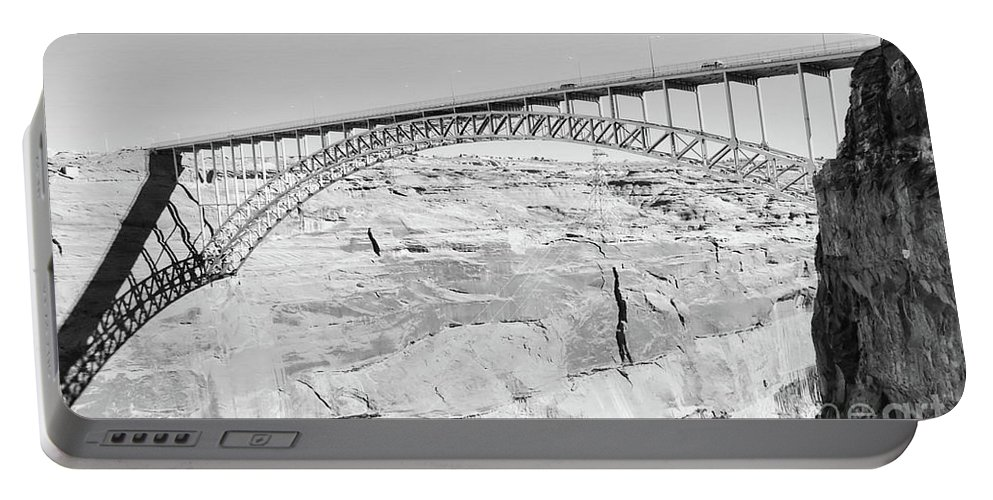 Digital Black And White Photo Portable Battery Charger featuring the photograph Glen Canyon Bridge Bw by Tim Richards