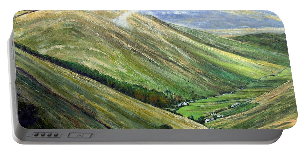 Landscapes Portable Battery Charger featuring the painting Glen Gesh Ireland by Jim Gola