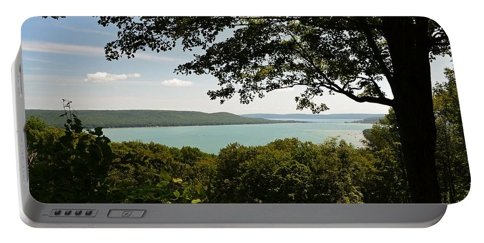 Glen Lake Portable Battery Charger featuring the photograph Glen Lake Overlook by Michelle Calkins