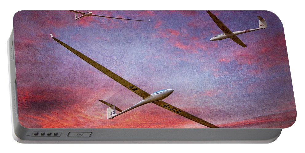 Glider Portable Battery Charger featuring the photograph Gliders Over The Devil's Dyke At Sunset by Chris Lord