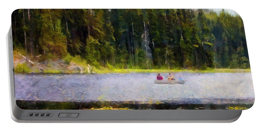Boating Portable Battery Charger featuring the painting Gliding Along by RC DeWinter