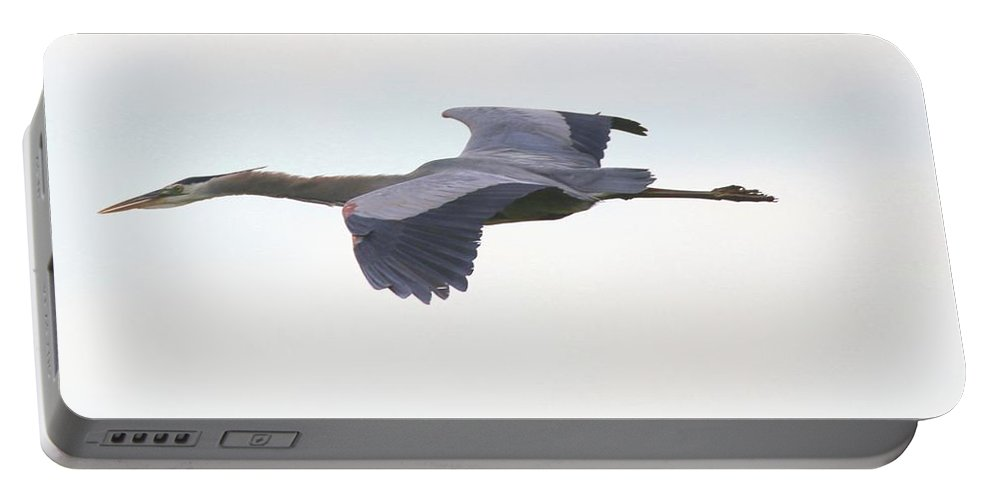 Great Blue Heron Portable Battery Charger featuring the photograph Gliding by Bill Zajac