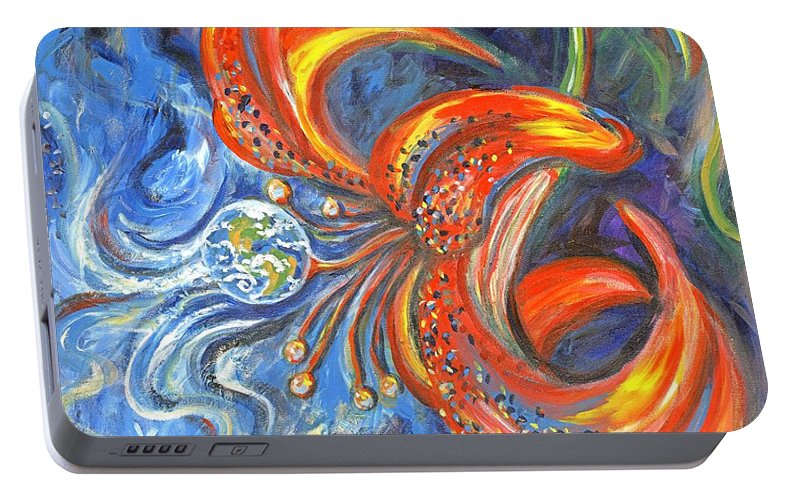Flower Portable Battery Charger featuring the painting Global Lily by Linda Mears