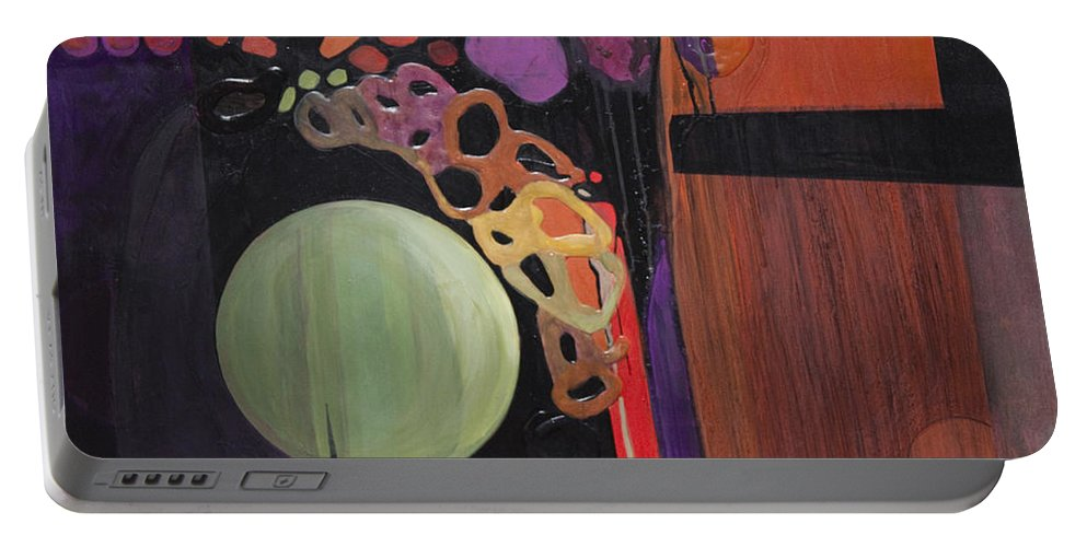 Abstract Portable Battery Charger featuring the painting Globular by Marlene Burns