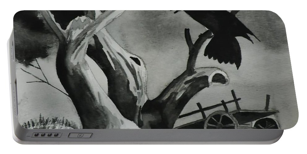Raven Portable Battery Charger featuring the painting Gloomy by Lise PICHE