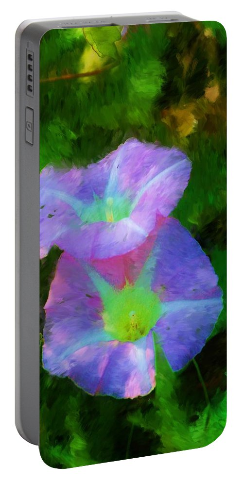 Floral Portable Battery Charger featuring the painting Gloria In The Shade by David Lane