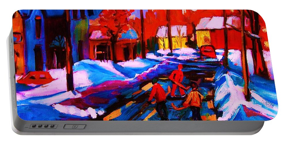 Streethockey Portable Battery Charger featuring the painting Glorious Day For A Game by Carole Spandau