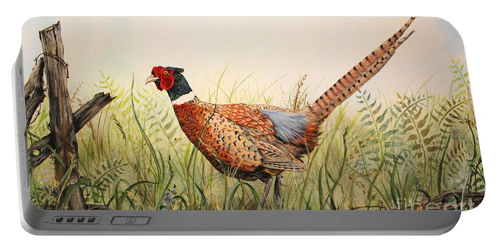Acrylic Painting Portable Battery Charger featuring the painting Glorious Pheasant-1 by Jean Plout
