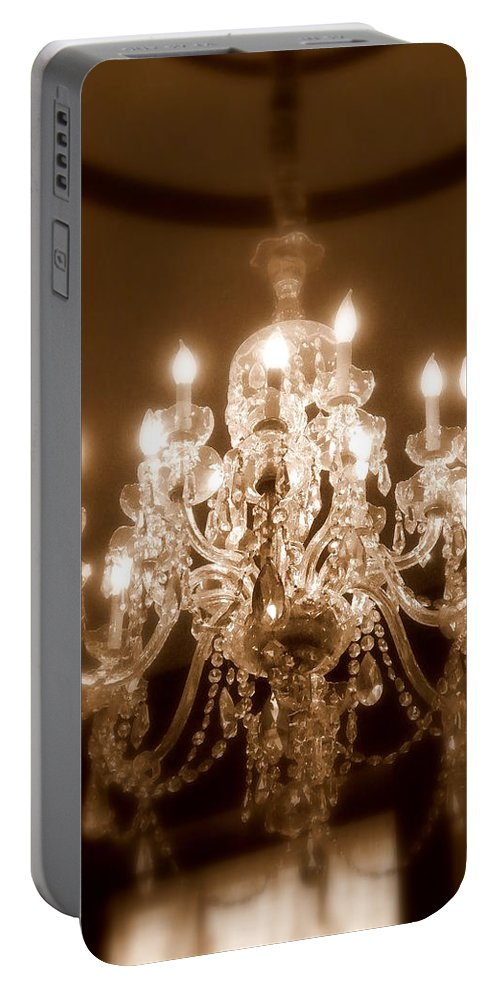 Chandelier Portable Battery Charger featuring the photograph Glow From The Past by Karen Wiles