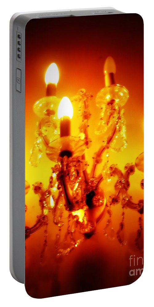 Dining Room Decor Portable Battery Charger featuring the photograph Glowing Chandelier--Companion Piece by Carol Groenen