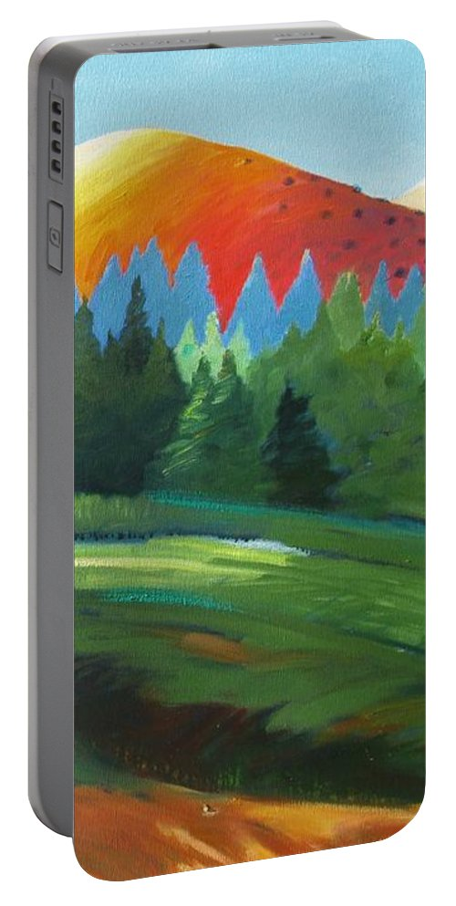 Windy Hill Portable Battery Charger featuring the painting Glowing Hill by Gary Coleman