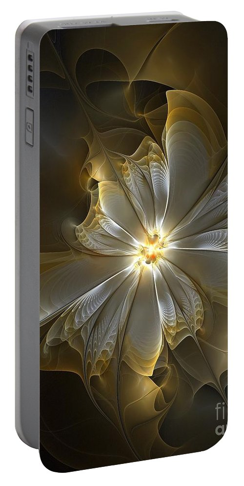 Digital Art Portable Battery Charger featuring the digital art Glowing In Silver And Gold by Amanda Moore