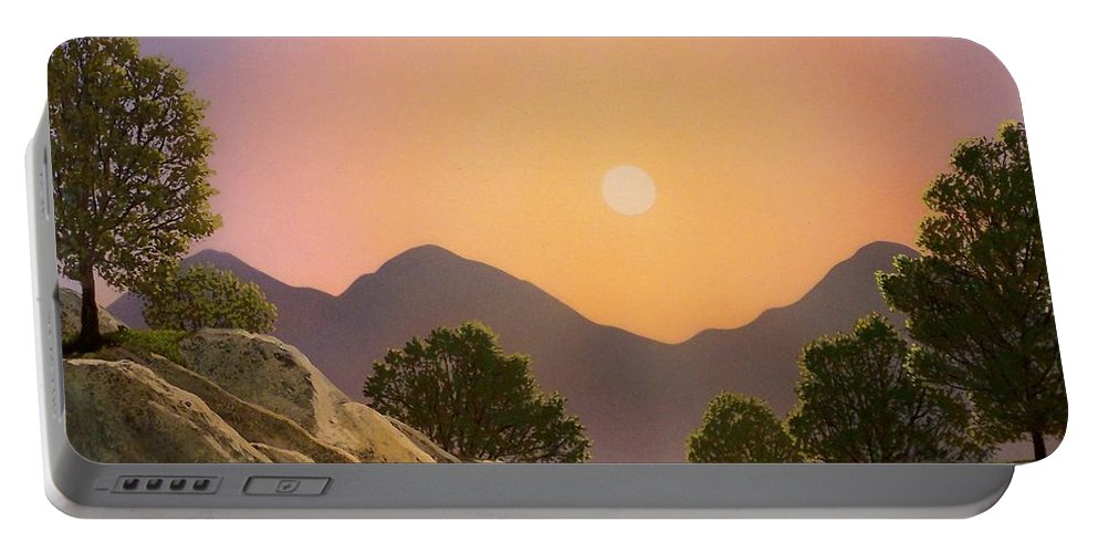 Mountains Portable Battery Charger featuring the painting Glowing Landscape by Frank Wilson