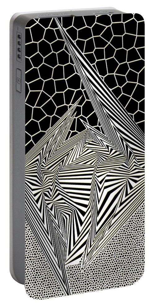 Dynamic Black And Yeller Portable Battery Charger featuring the digital art Gnilggurts by Douglas Christian Larsen