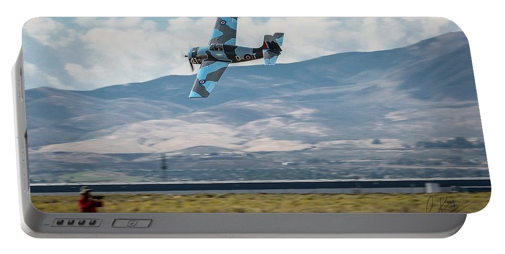 Reno Air Races Portable Battery Charger featuring the photograph Go Fast Turn Left Fly Low Friday Morning Unlimited Broze Class Signature Edition by John King
