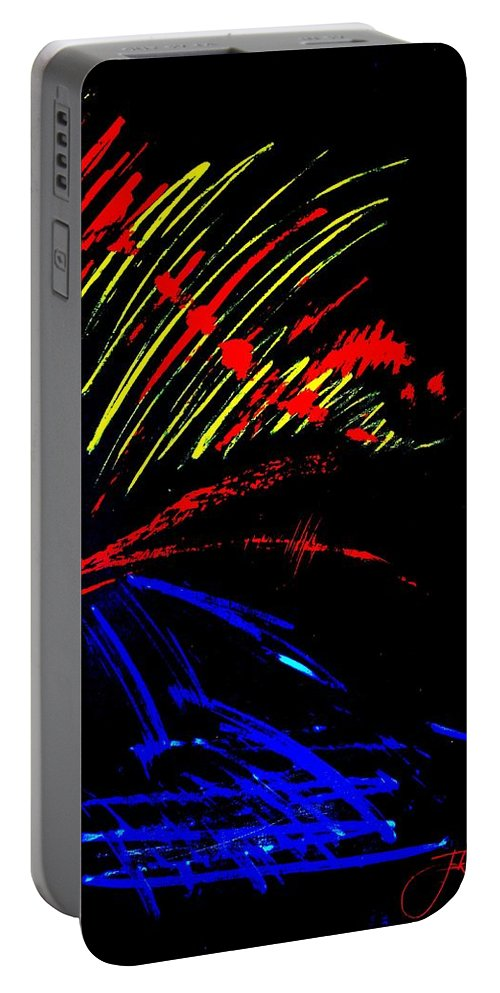 Red Portable Battery Charger featuring the painting GO by Jack Diamond