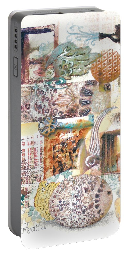 Abstract Portable Battery Charger featuring the painting Go With The Flow by Valerie Meotti