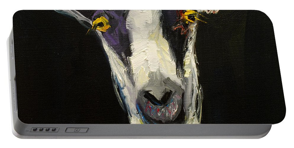 Goat Portable Battery Charger featuring the painting Goat Gloat by Diane Whitehead