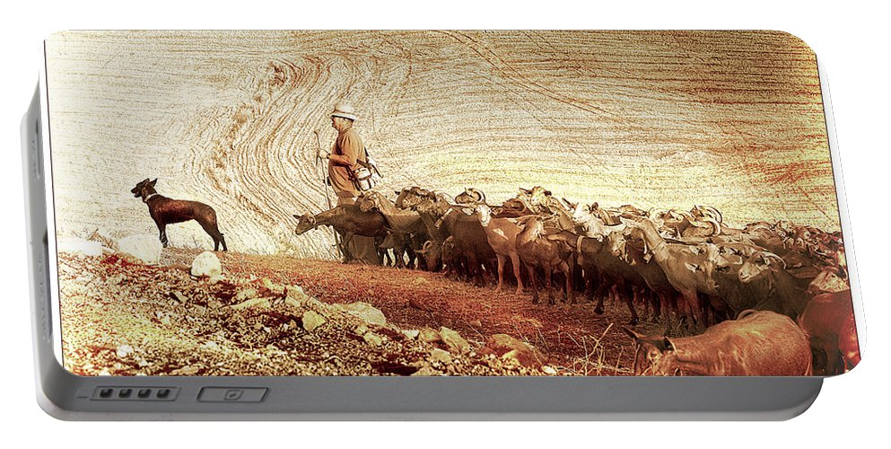 Goats Portable Battery Charger featuring the photograph Goatherd by Mal Bray