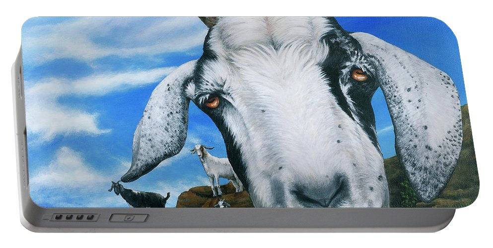 St. Martin Portable Battery Charger featuring the painting Goats Of St. Martin by Cindy D Chinn