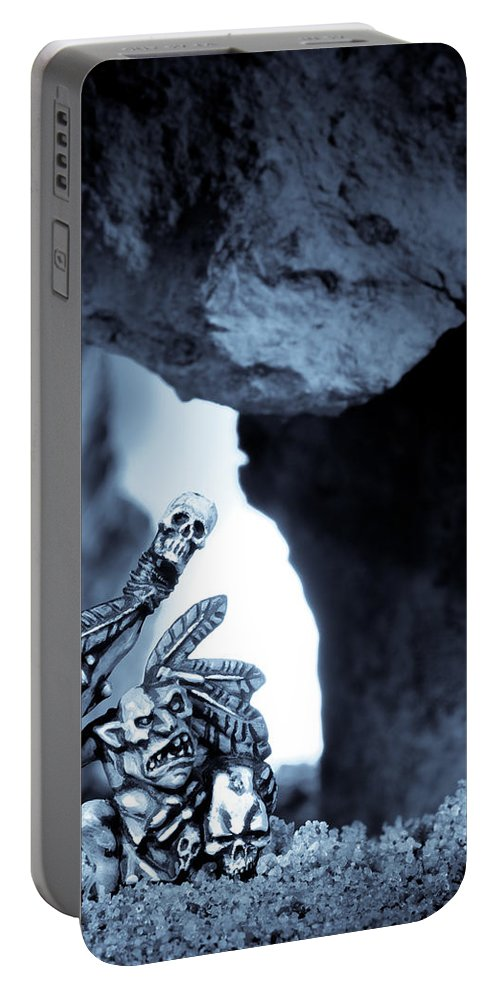 Cave Portable Battery Charger featuring the photograph Goblin Shaman by Marc Garrido