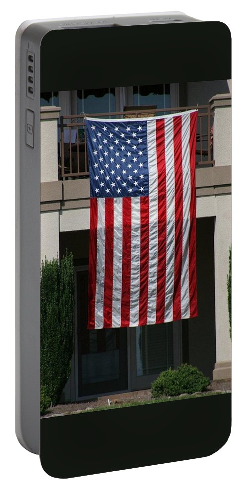 Flag Portable Battery Charger featuring the photograph God Bless by Jean Macaluso