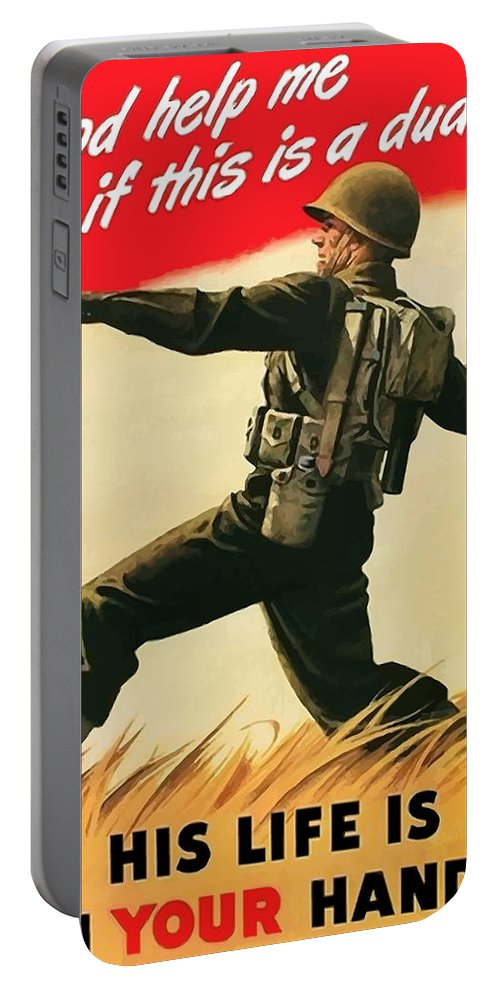 War Propaganda Portable Battery Charger featuring the painting God Help Me If This Is A Dud by War Is Hell Store