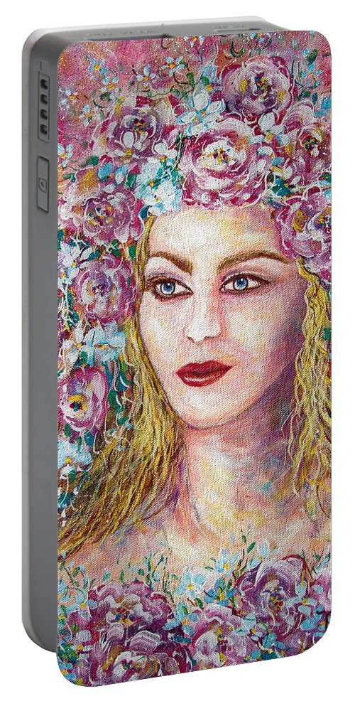 Goddess Of Good Fortune Portable Battery Charger featuring the painting Goddess Of Good Fortune by Natalie Holland