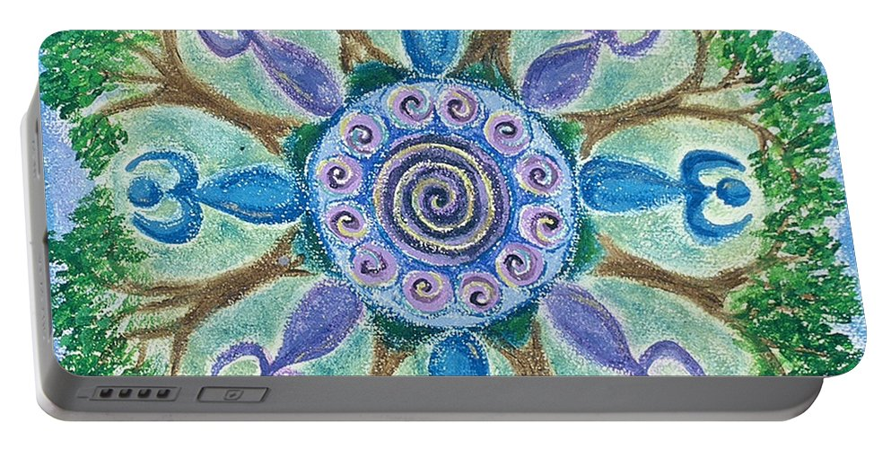 Goddess Portable Battery Charger featuring the painting Goddesses Dancing by Charlotte Backman