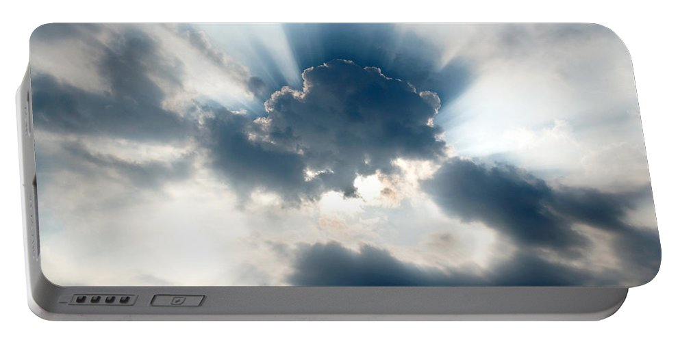 Sun Portable Battery Charger featuring the photograph Gods Rays by Greg Fortier